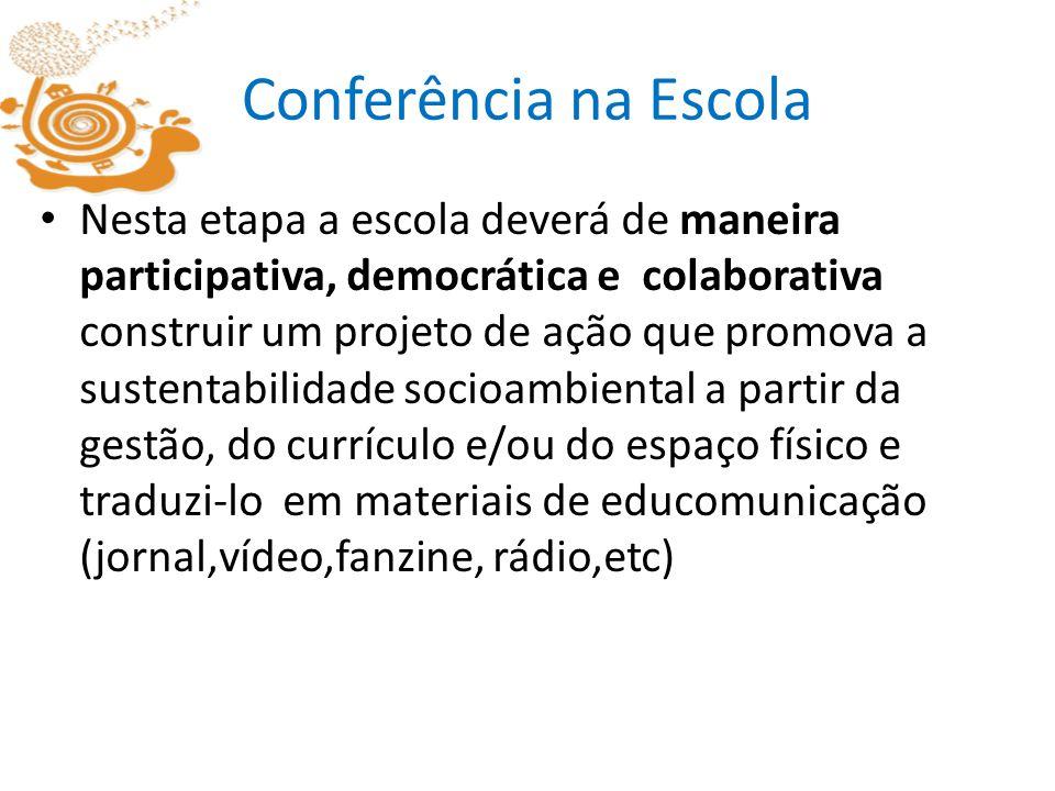 Conferência na Escola Nesta etapa a escola deverá de maneira participativa, democrática e colaborativa construir um projeto de ação que promova a sust