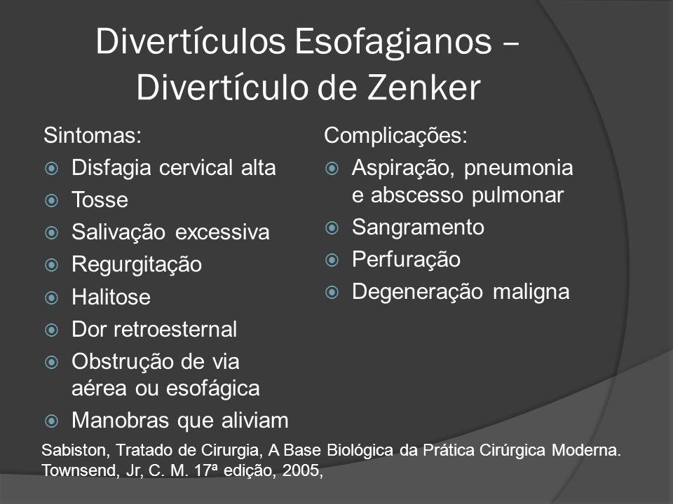 Divertículos Esofagianos – Divertículo de Zenker Sintomas: Disfagia cervical alta Tosse Salivação excessiva Regurgitação Halitose Dor retroesternal Ob