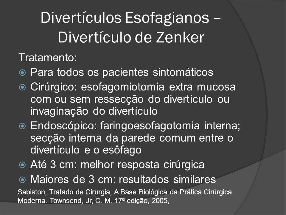 Divertículos Esofagianos – Divertículo de Zenker Tratamento: Para todos os pacientes sintomáticos Cirúrgico: esofagomiotomia extra mucosa com ou sem r