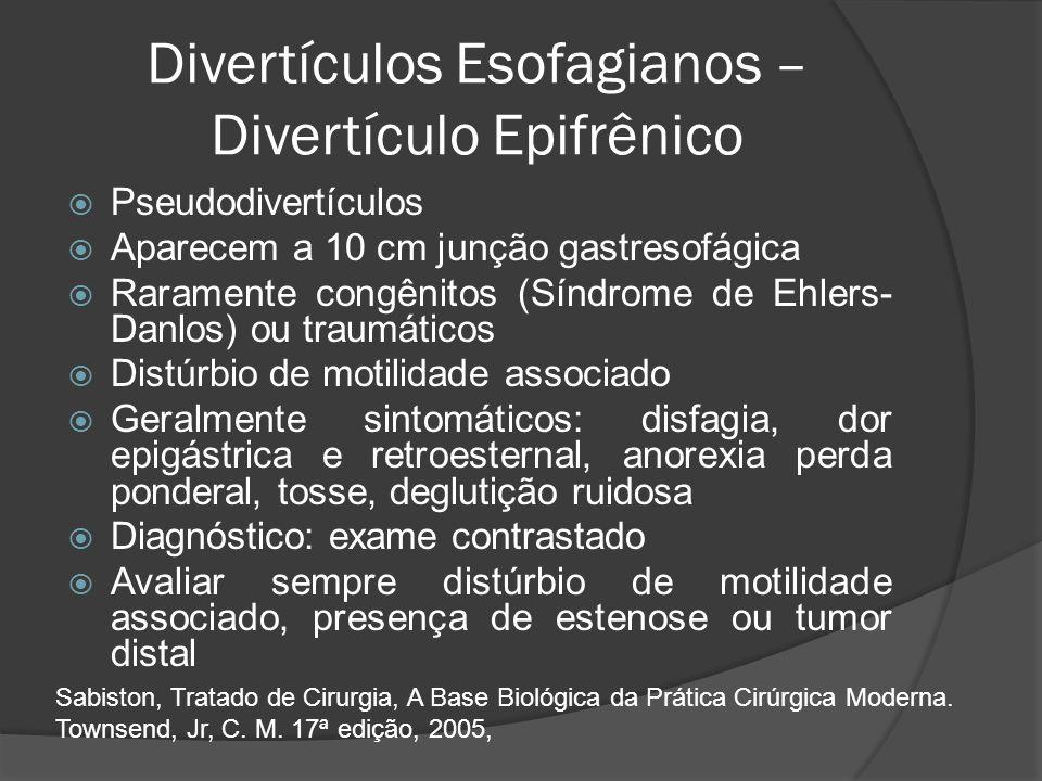 Divertículos Esofagianos – Divertículo Epifrênico Pseudodivertículos Aparecem a 10 cm junção gastresofágica Raramente congênitos (Síndrome de Ehlers-