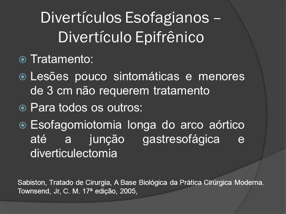 Divertículos Esofagianos – Divertículo Epifrênico Tratamento: Lesões pouco sintomáticas e menores de 3 cm não requerem tratamento Para todos os outros