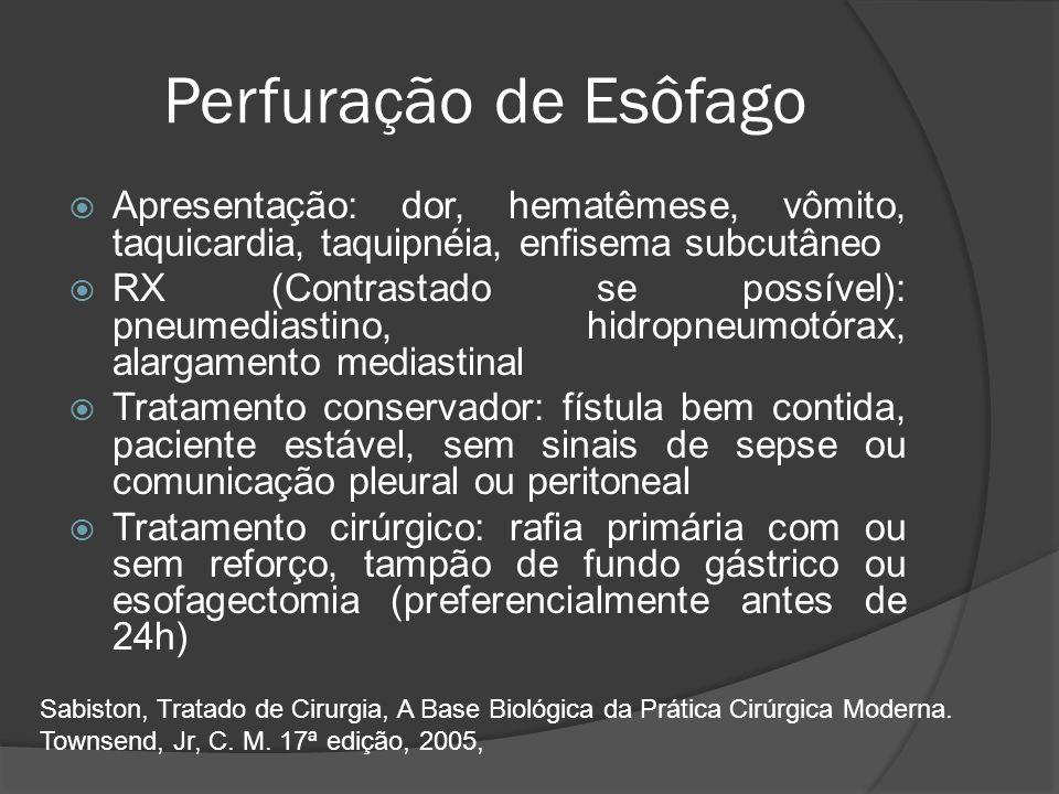 Perfuração de Esôfago Apresentação: dor, hematêmese, vômito, taquicardia, taquipnéia, enfisema subcutâneo RX (Contrastado se possível): pneumediastino