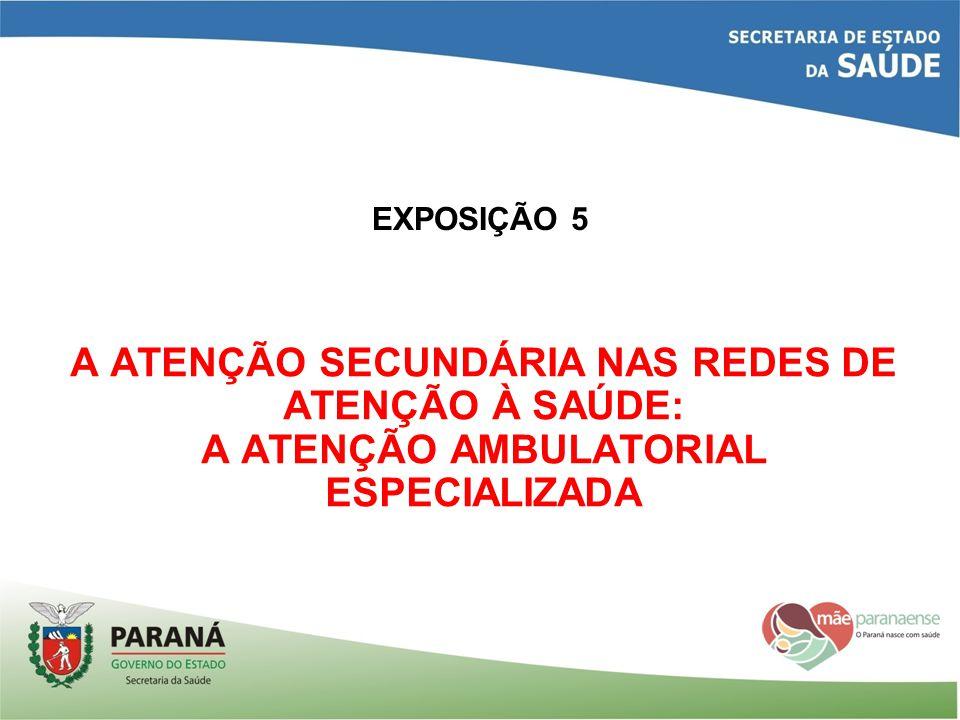 EXPOSIÇÃO 5 A ATENÇÃO SECUNDÁRIA NAS REDES DE ATENÇÃO À SAÚDE: A ATENÇÃO AMBULATORIAL ESPECIALIZADA