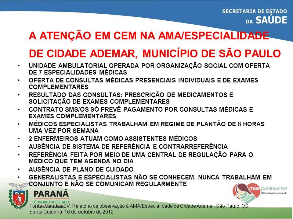A ATENÇÃO EM CEM NA AMA/ESPECIALIDADE DE CIDADE ADEMAR, MUNICÍPIO DE SÃO PAULO UNIDADE AMBULATORIAL OPERADA POR ORGANIZAÇÃO SOCIAL COM OFERTA DE 7 ESP