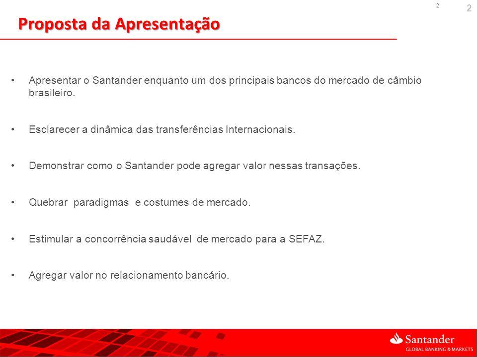 2 2 Proposta da Apresentação Apresentar o Santander enquanto um dos principais bancos do mercado de câmbio brasileiro. Esclarecer a dinâmica das trans