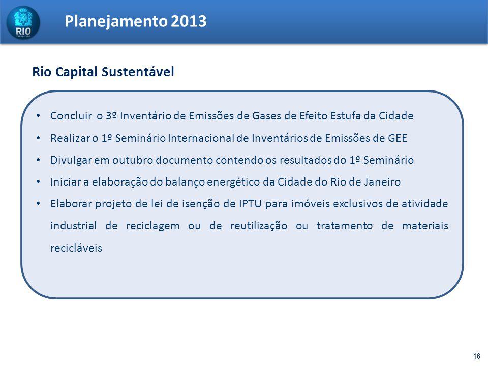 Planejamento 2013 16 Concluir o 3º Inventário de Emissões de Gases de Efeito Estufa da Cidade Realizar o 1º Seminário Internacional de Inventários de