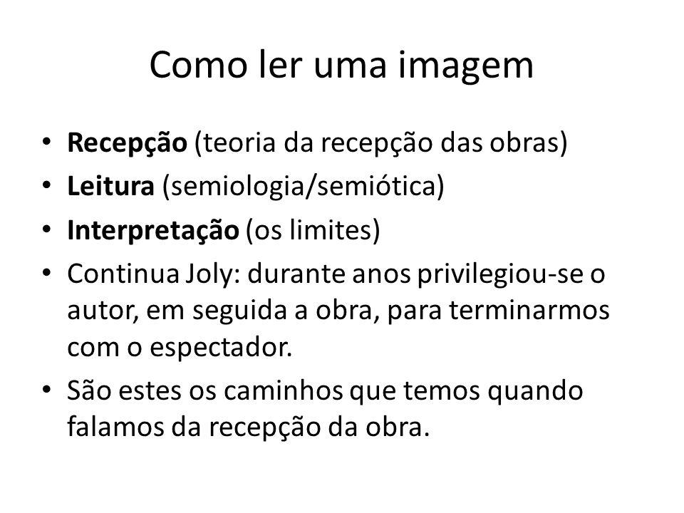 Como ler uma imagem Recepção (teoria da recepção das obras) Leitura (semiologia/semiótica) Interpretação (os limites) Continua Joly: durante anos priv