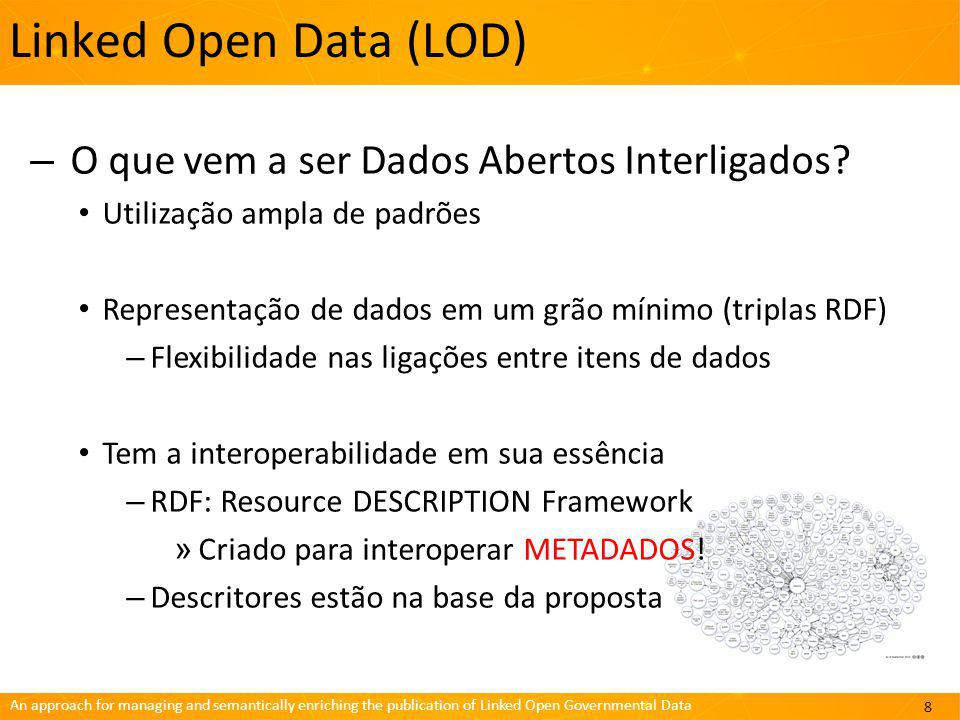 An approach for managing and semantically enriching the publication of Linked Open Governmental Data Projeto LinkedDataBR Arquitetura 19
