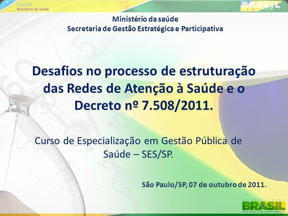 Ministério da saúde Secretaria de Gestão Estratégica e Participativa Curso de Especialização em Gestão Pública de Saúde – SES/SP. Desafios no processo