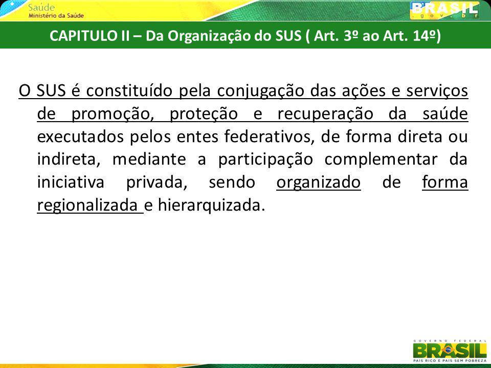 O SUS é constituído pela conjugação das ações e serviços de promoção, proteção e recuperação da saúde executados pelos entes federativos, de forma dir