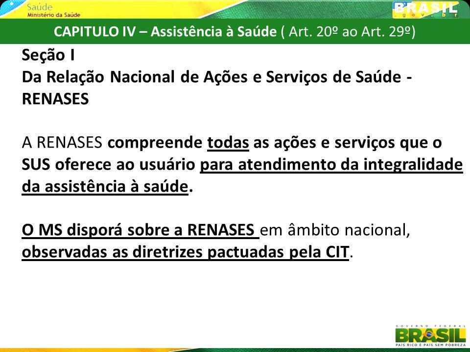 CAPITULO IV – Assistência à Saúde ( Art. 20º ao Art. 29º) Seção I Da Relação Nacional de Ações e Serviços de Saúde - RENASES A RENASES compreende toda