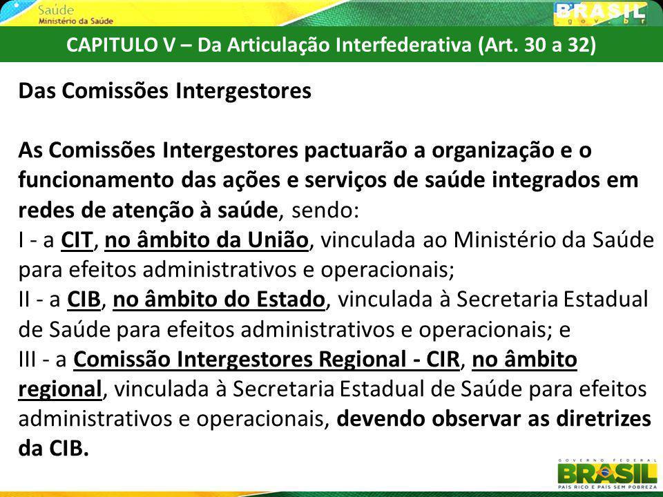 Das Comissões Intergestores As Comissões Intergestores pactuarão a organização e o funcionamento das ações e serviços de saúde integrados em redes de