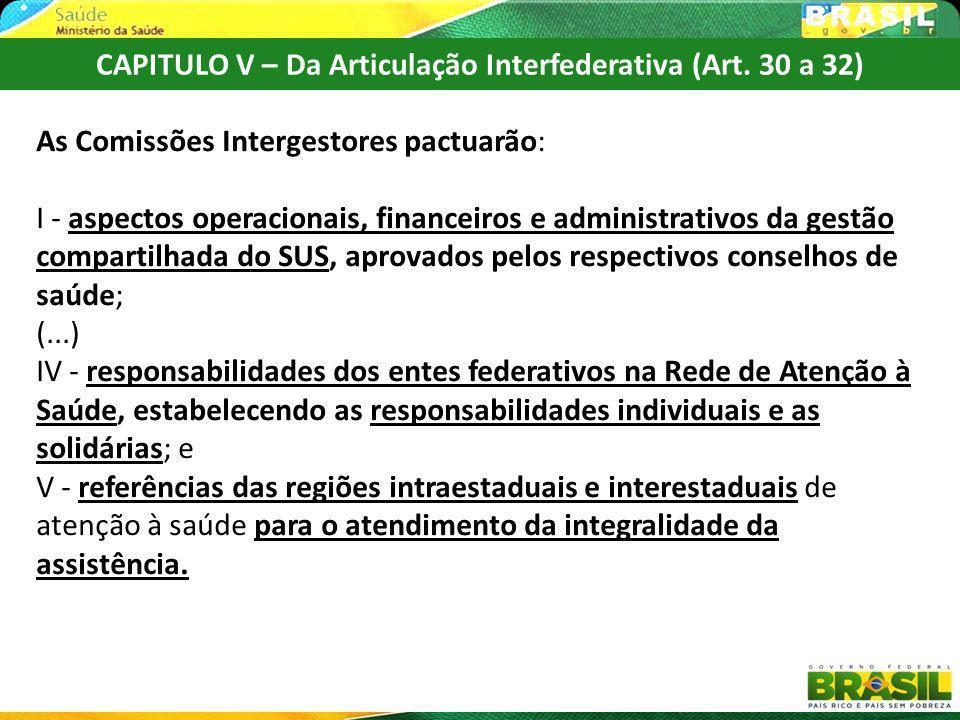 As Comissões Intergestores pactuarão: I - aspectos operacionais, financeiros e administrativos da gestão compartilhada do SUS, aprovados pelos respect