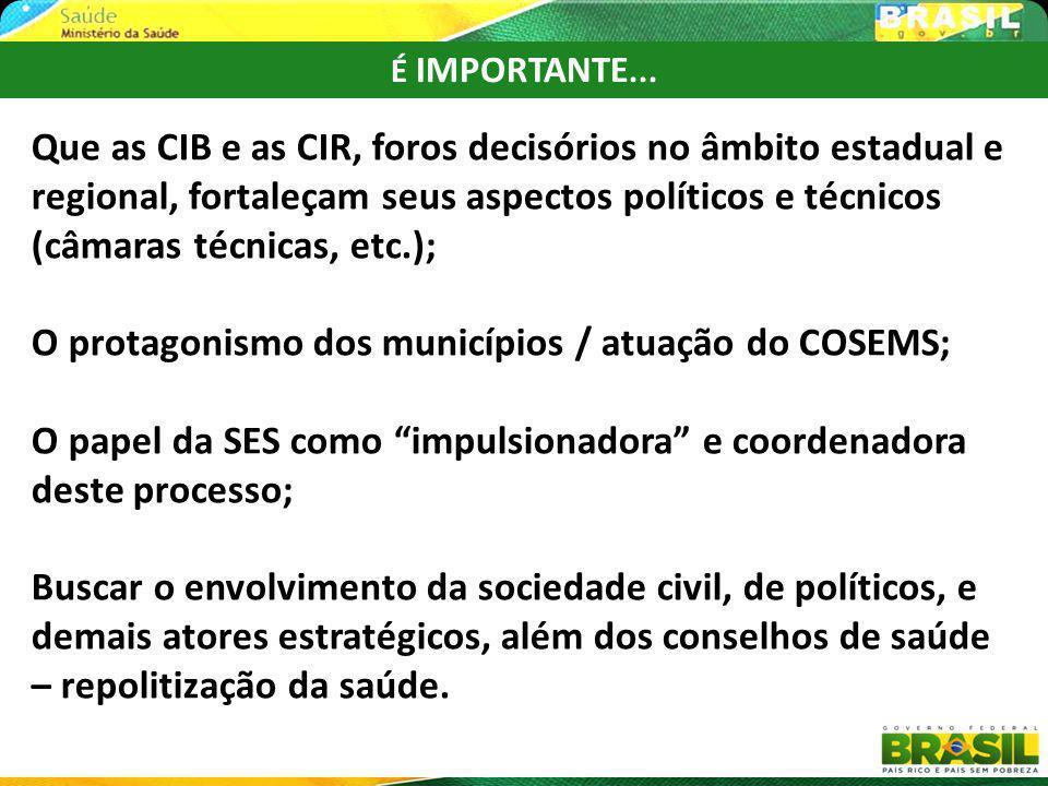 É IMPORTANTE... Que as CIB e as CIR, foros decisórios no âmbito estadual e regional, fortaleçam seus aspectos políticos e técnicos (câmaras técnicas,