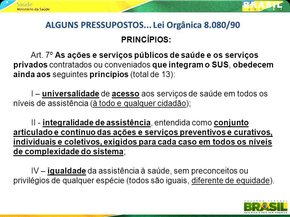 PRINCÍPIOS: Art. 7º As ações e serviços públicos de saúde e os serviços privados contratados ou conveniados que integram o SUS, obedecem ainda aos seg