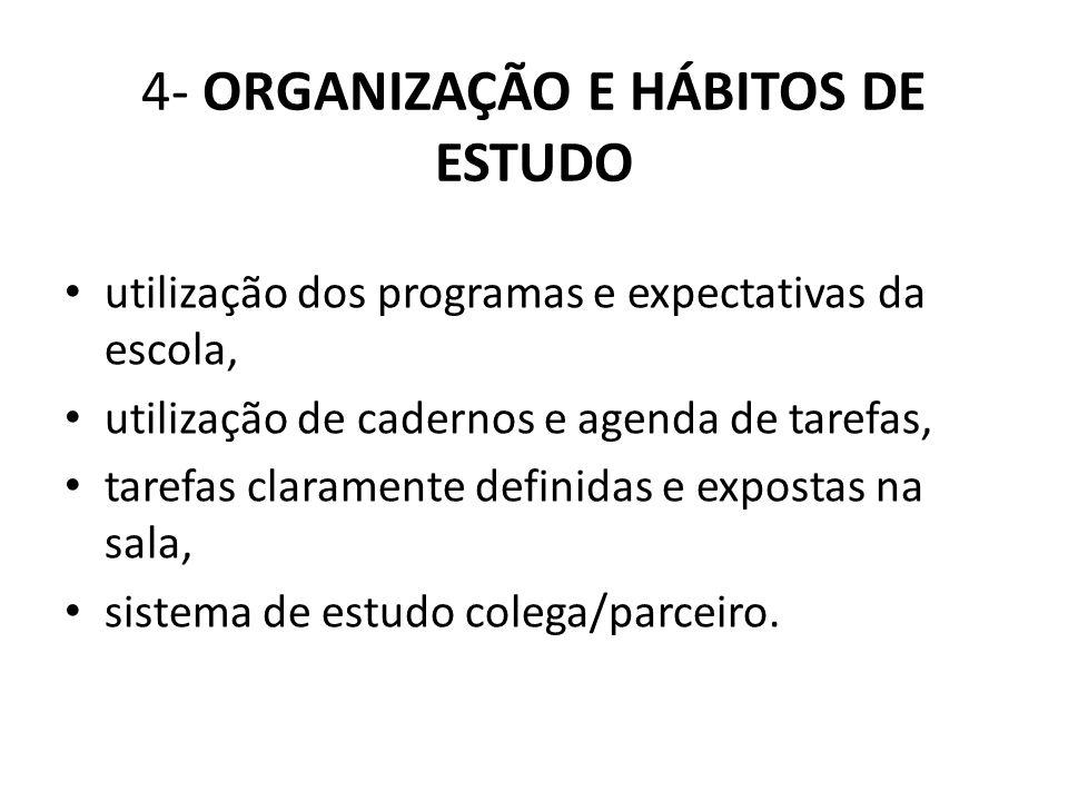 4- ORGANIZAÇÃO E HÁBITOS DE ESTUDO utilização dos programas e expectativas da escola, utilização de cadernos e agenda de tarefas, tarefas claramente d