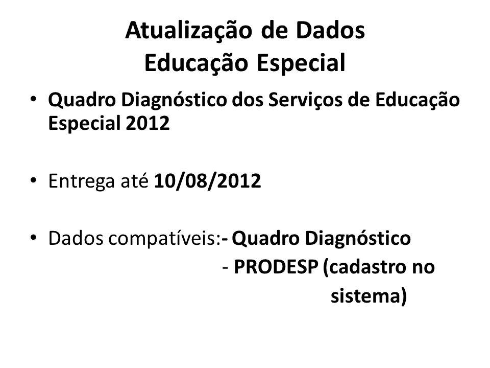 Atualização de Dados Educação Especial Quadro Diagnóstico dos Serviços de Educação Especial 2012 Entrega até 10/08/2012 Dados compatíveis:- Quadro Dia
