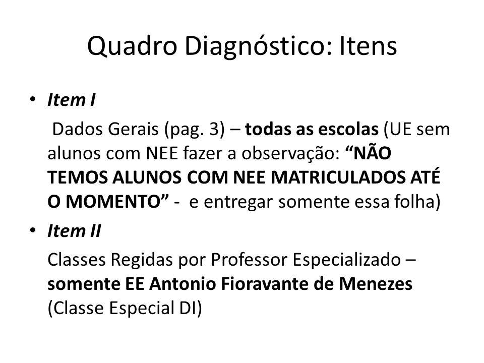 Quadro Diagnóstico: Itens Item I Dados Gerais (pag. 3) – todas as escolas (UE sem alunos com NEE fazer a observação: NÃO TEMOS ALUNOS COM NEE MATRICUL