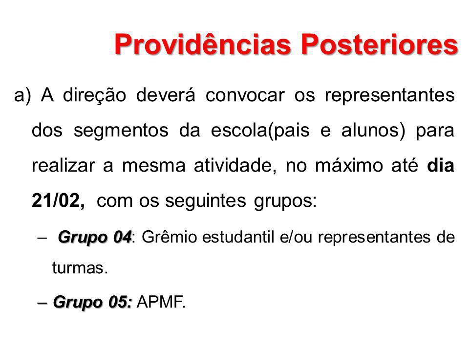 Providências Posteriores a) A direção deverá convocar os representantes dos segmentos da escola(pais e alunos) para realizar a mesma atividade, no máx