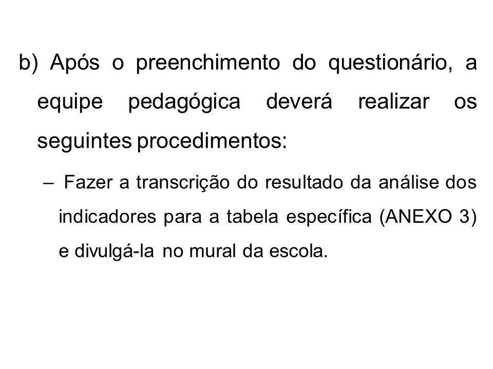b) Após o preenchimento do questionário, a equipe pedagógica deverá realizar os seguintes procedimentos: – Fazer a transcrição do resultado da análise