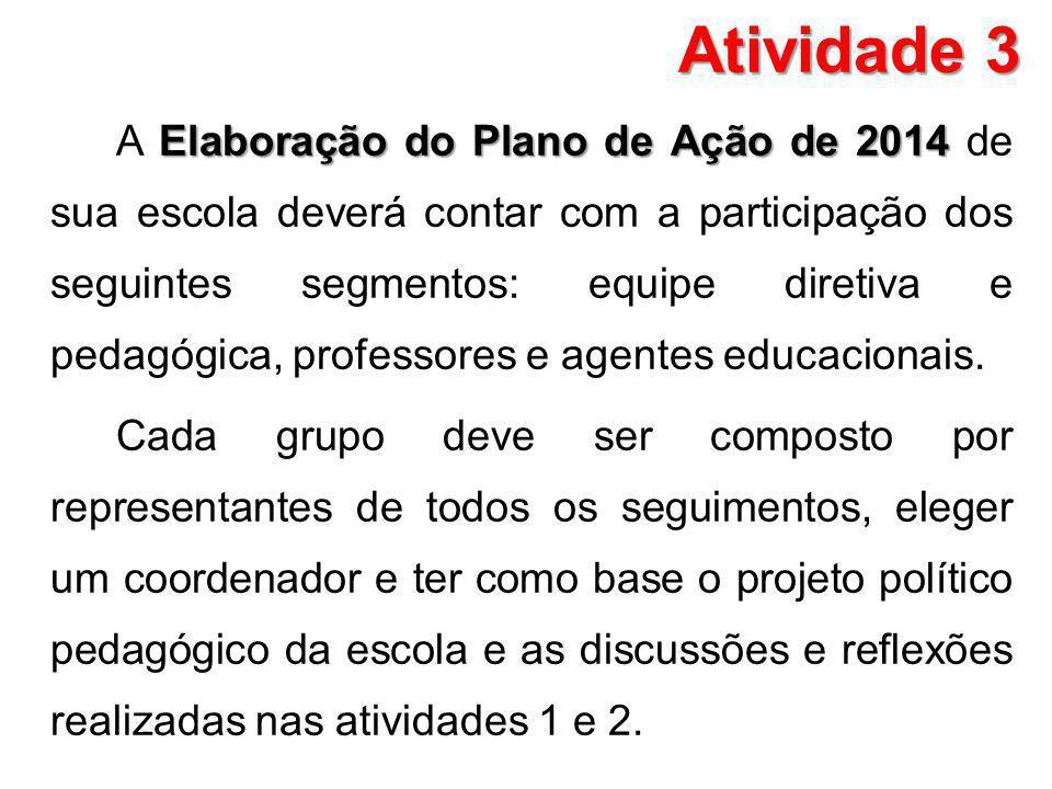 Atividade 3 Elaboração do Plano de Ação de 2014 A Elaboração do Plano de Ação de 2014 de sua escola deverá contar com a participação dos seguintes seg
