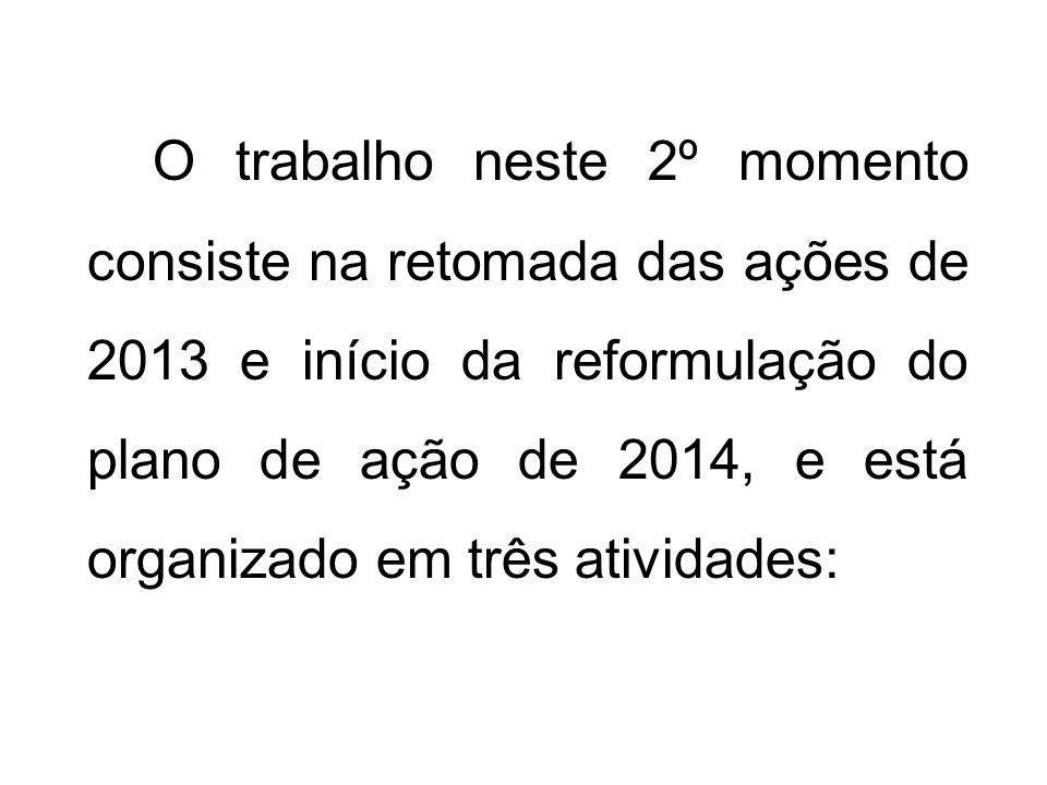 O trabalho neste 2º momento consiste na retomada das ações de 2013 e início da reformulação do plano de ação de 2014, e está organizado em três ativid