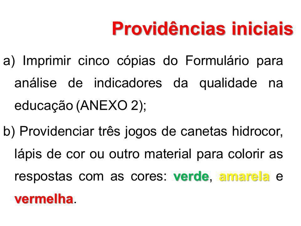 Providências iniciais a) Imprimir cinco cópias do Formulário para análise de indicadores da qualidade na educação (ANEXO 2); verdeamarela vermelha b)