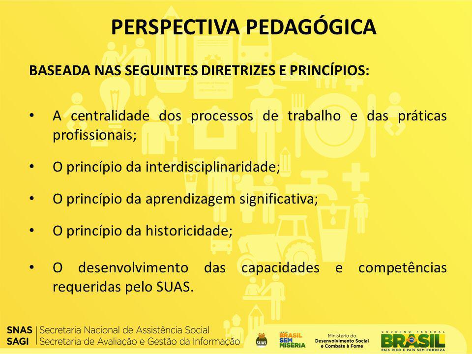 BASEADA NAS SEGUINTES DIRETRIZES E PRINCÍPIOS: A centralidade dos processos de trabalho e das práticas profissionais; O princípio da interdisciplinari