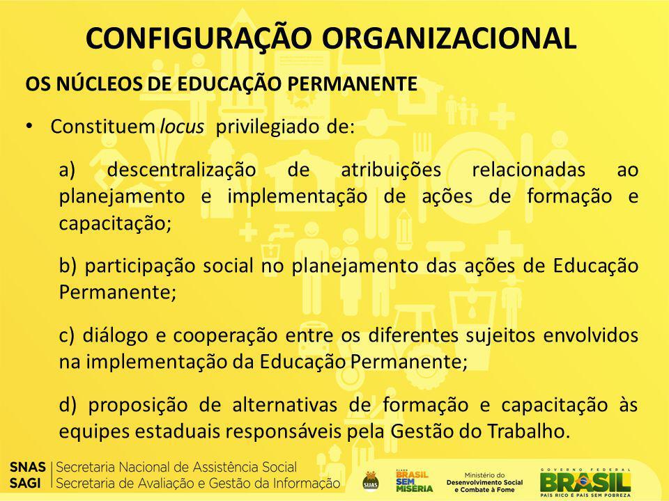 OS NÚCLEOS DE EDUCAÇÃO PERMANENTE Constituem locus privilegiado de: a) descentralização de atribuições relacionadas ao planejamento e implementação de