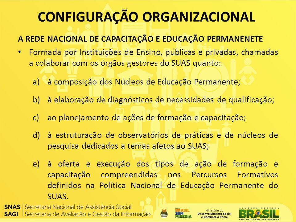 A REDE NACIONAL DE CAPACITAÇÃO E EDUCAÇÃO PERMANENETE Formada por Instituições de Ensino, públicas e privadas, chamadas a colaborar com os órgãos gest