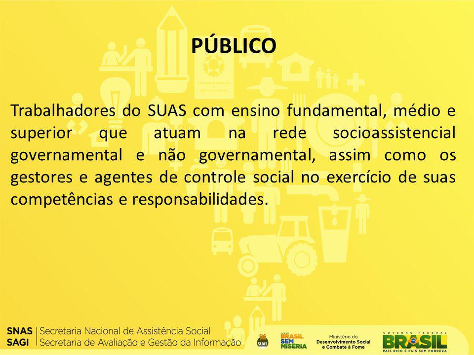 Trabalhadores do SUAS com ensino fundamental, médio e superior que atuam na rede socioassistencial governamental e não governamental, assim como os ge