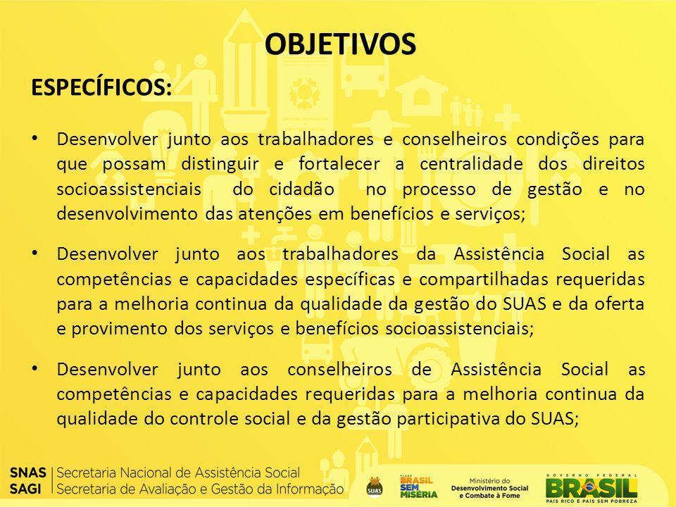 ESPECÍFICOS: Desenvolver junto aos trabalhadores e conselheiros condições para que possam distinguir e fortalecer a centralidade dos direitos socioass
