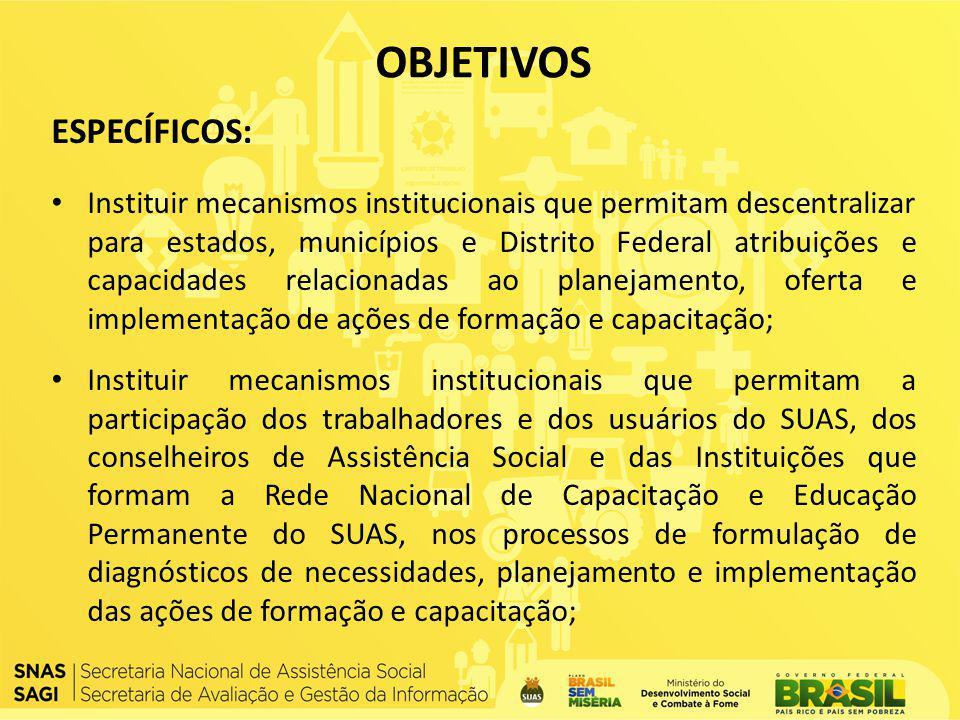 ESPECÍFICOS: Instituir mecanismos institucionais que permitam descentralizar para estados, municípios e Distrito Federal atribuições e capacidades rel