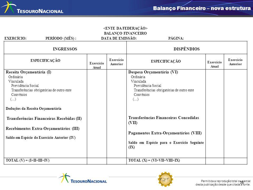 Permitida a reprodução total ou parcial desta publicação desde que citada a fonte. 39 Balanço Financeiro – nova estrutura BALANÇO FINANCEIRO EXERCÍCIO
