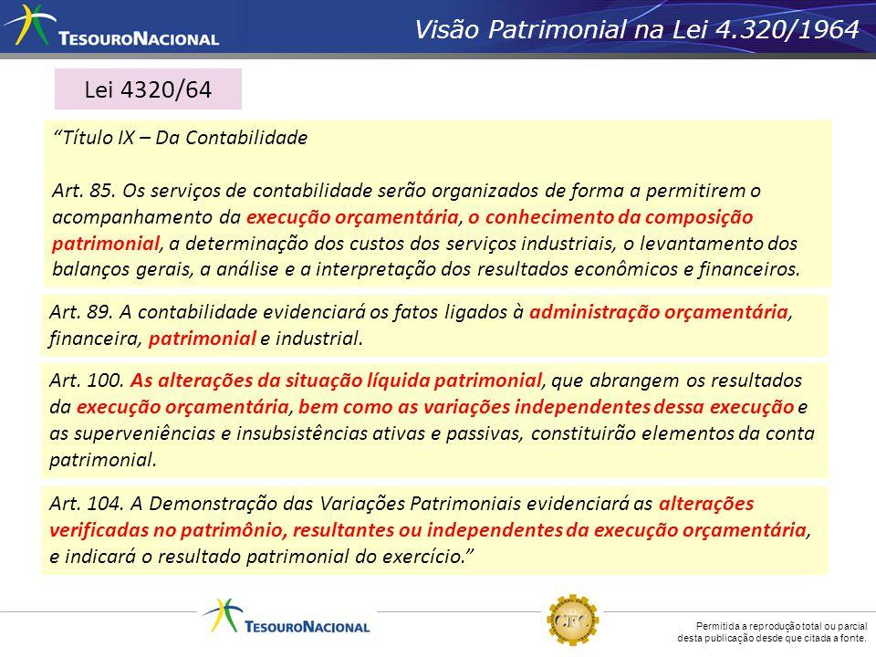 Permitida a reprodução total ou parcial desta publicação desde que citada a fonte. Visão Patrimonial na Lei 4.320/1964 Título IX – Da Contabilidade Ar