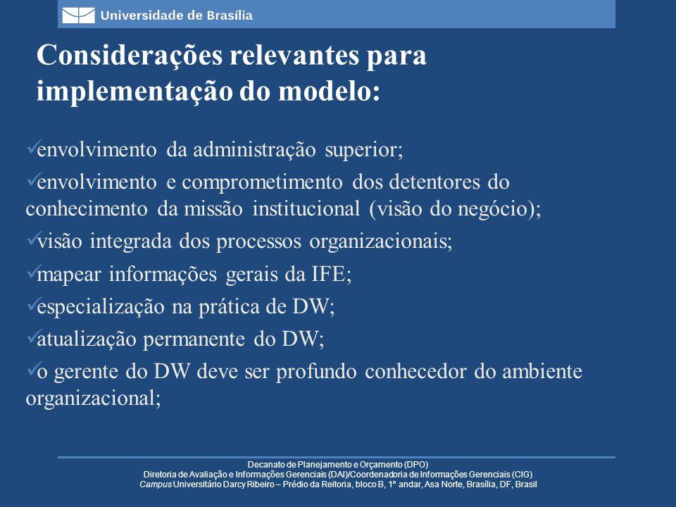 Decanato de Planejamento e Orçamento (DPO) Diretoria de Avaliação e Informações Gerenciais (DAI)/Coordenadoria de Informações Gerenciais (CIG) Campus Universitário Darcy Ribeiro – Prédio da Reitoria, bloco B, 1º andar, Asa Norte, Brasília, DF, Brasil Considerações relevantes para implementação do modelo: envolvimento da administração superior; envolvimento e comprometimento dos detentores do conhecimento da missão institucional (visão do negócio); visão integrada dos processos organizacionais; mapear informações gerais da IFE; especialização na prática de DW; atualização permanente do DW; o gerente do DW deve ser profundo conhecedor do ambiente organizacional;
