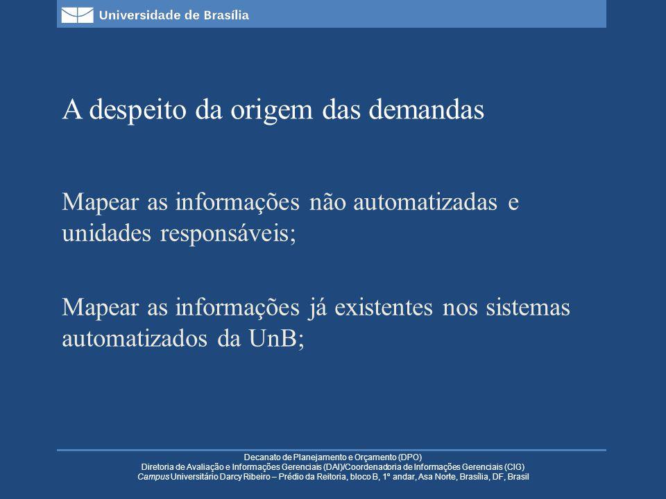 Decanato de Planejamento e Orçamento (DPO) Diretoria de Avaliação e Informações Gerenciais (DAI)/Coordenadoria de Informações Gerenciais (CIG) Campus Universitário Darcy Ribeiro – Prédio da Reitoria, bloco B, 1º andar, Asa Norte, Brasília, DF, Brasil A despeito da origem das demandas Mapear as informações não automatizadas e unidades responsáveis; Mapear as informações já existentes nos sistemas automatizados da UnB;