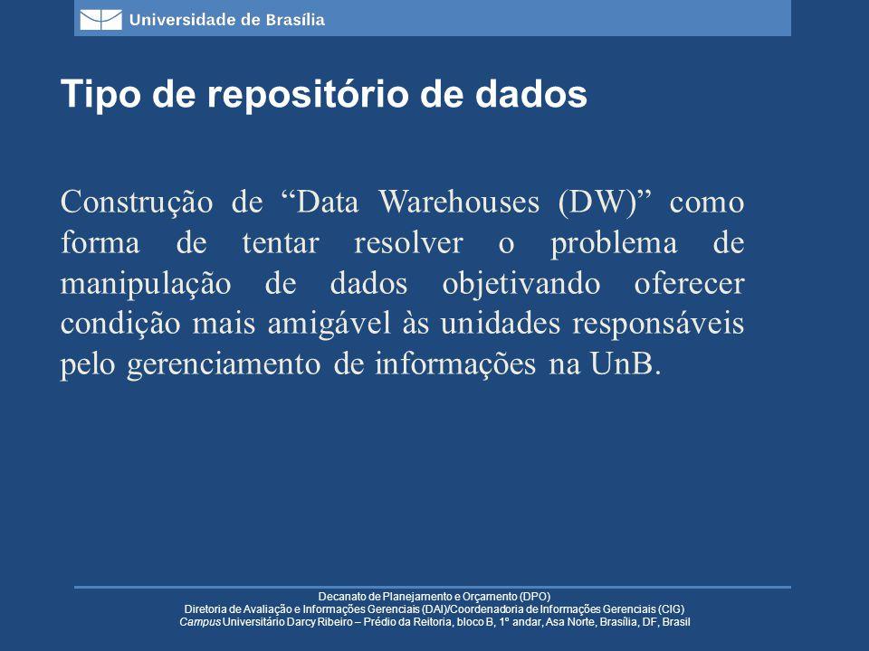 Decanato de Planejamento e Orçamento (DPO) Diretoria de Avaliação e Informações Gerenciais (DAI)/Coordenadoria de Informações Gerenciais (CIG) Campus Universitário Darcy Ribeiro – Prédio da Reitoria, bloco B, 1º andar, Asa Norte, Brasília, DF, Brasil Tipo de repositório de dados Construção de Data Warehouses (DW) como forma de tentar resolver o problema de manipulação de dados objetivando oferecer condição mais amigável às unidades responsáveis pelo gerenciamento de informações na UnB.