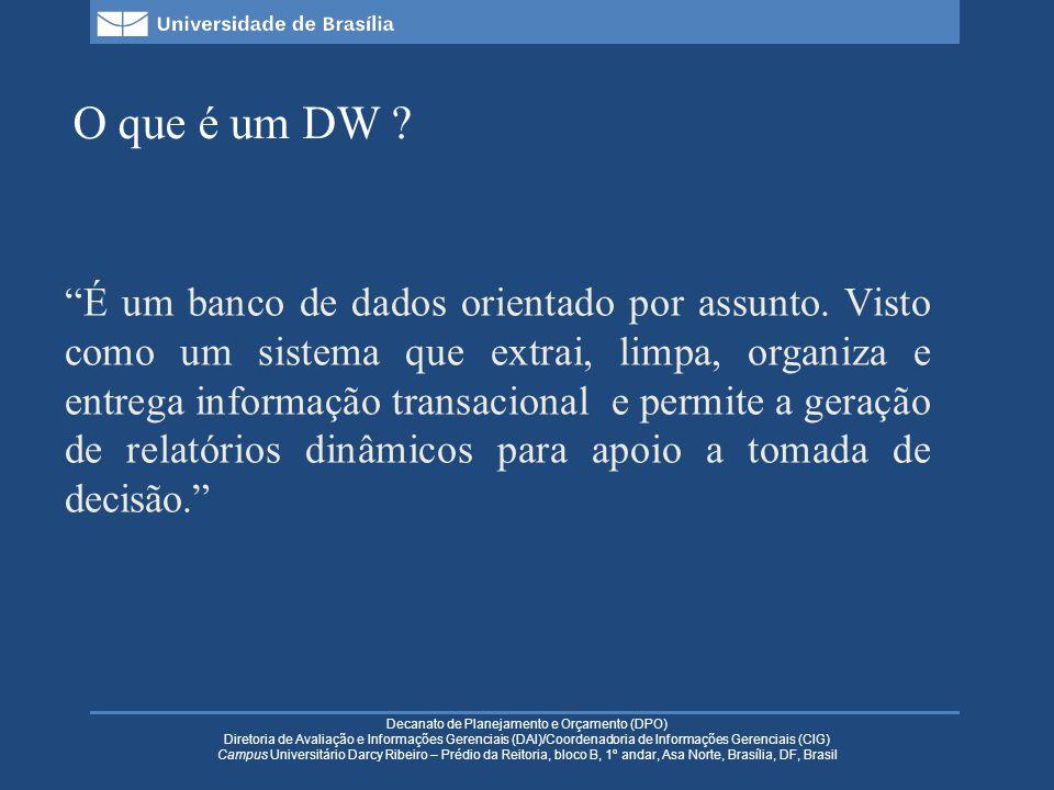 Decanato de Planejamento e Orçamento (DPO) Diretoria de Avaliação e Informações Gerenciais (DAI)/Coordenadoria de Informações Gerenciais (CIG) Campus Universitário Darcy Ribeiro – Prédio da Reitoria, bloco B, 1º andar, Asa Norte, Brasília, DF, Brasil Vantagens Dados orientados por assunto; Dados integrados; Tempo dos dados variante; Dados integrados.