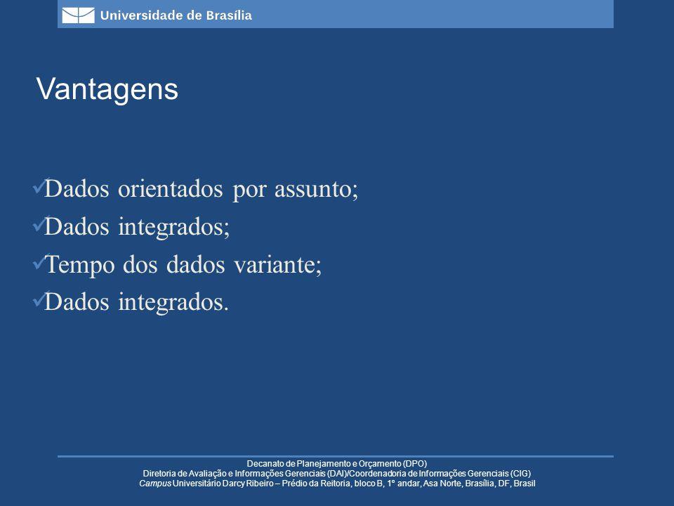 Decanato de Planejamento e Orçamento (DPO) Diretoria de Avaliação e Informações Gerenciais (DAI)/Coordenadoria de Informações Gerenciais (CIG) Campus Universitário Darcy Ribeiro – Prédio da Reitoria, bloco B, 1º andar, Asa Norte, Brasília, DF, Brasil Justificativas: as tecnologias e metodologias de armazenamento de dados avançaram em relação ao seu tratamento operacional; torna as operações mais rápidas e mais seguras; modelo de dados mais apropriado; integração de bases de dados; dados históricos.