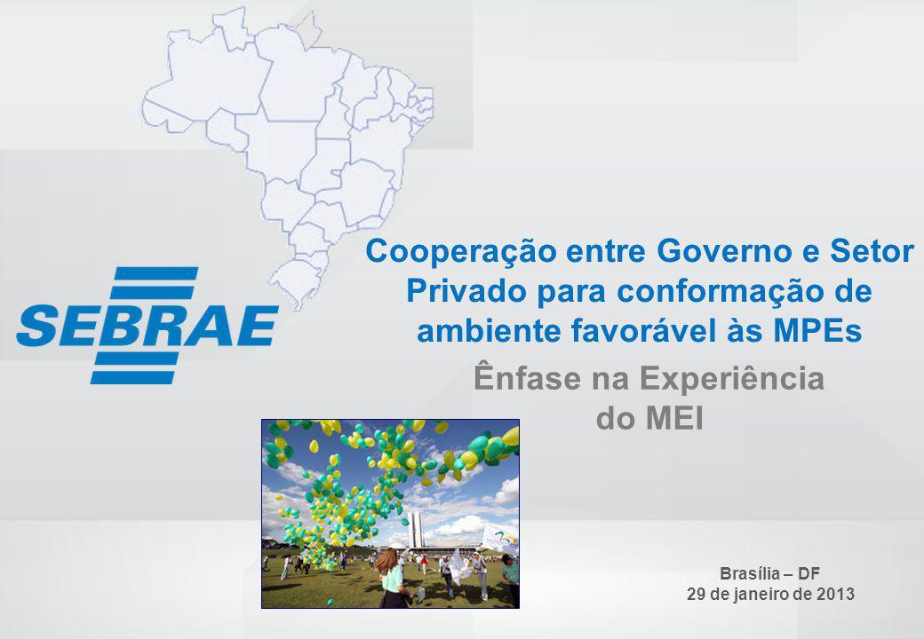 SEBRAE 0800 570 0800 / www.sebrae.com.br Cooperação entre Governo e Setor Privado para conformação de ambiente favorável às MPEs Ênfase na Experiência do MEI Brasília – DF 29 de janeiro de 2013