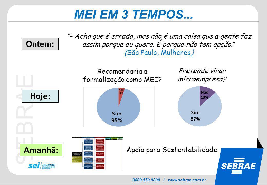 SEBRAE 0800 570 0800 / www.sebrae.com.br MEI EM 3 TEMPOS...