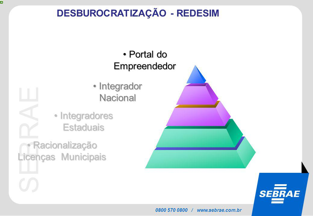SEBRAE 0800 570 0800 / www.sebrae.com.br DESBUROCRATIZAÇÃO - REDESIM Portal do Empreendedor Portal do Empreendedor Integradores Estaduais Integradores