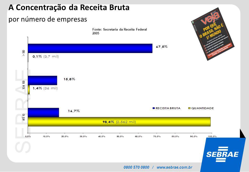 SEBRAE 0800 570 0800 / www.sebrae.com.br A Concentração da Receita Bruta por número de empresas Fonte: Secretaria da Receita Federal 2005
