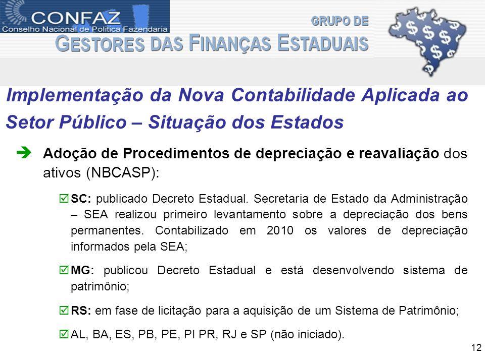 Implementação da Nova Contabilidade Aplicada ao Setor Público – Situação dos Estados Adoção de Procedimentos de depreciação e reavaliação dos ativos (