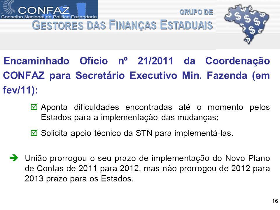Encaminhado Ofício nº 21/2011 da Coordenação CONFAZ para Secretário Executivo Min. Fazenda (em fev/11): Aponta dificuldades encontradas até o momento