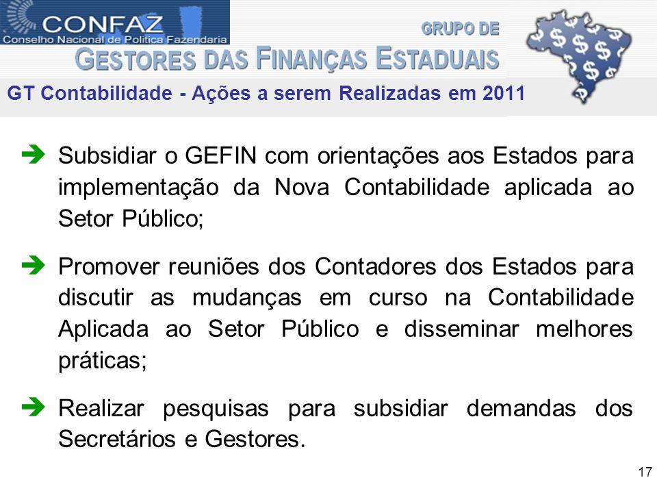 Subsidiar o GEFIN com orientações aos Estados para implementação da Nova Contabilidade aplicada ao Setor Público; Promover reuniões dos Contadores dos