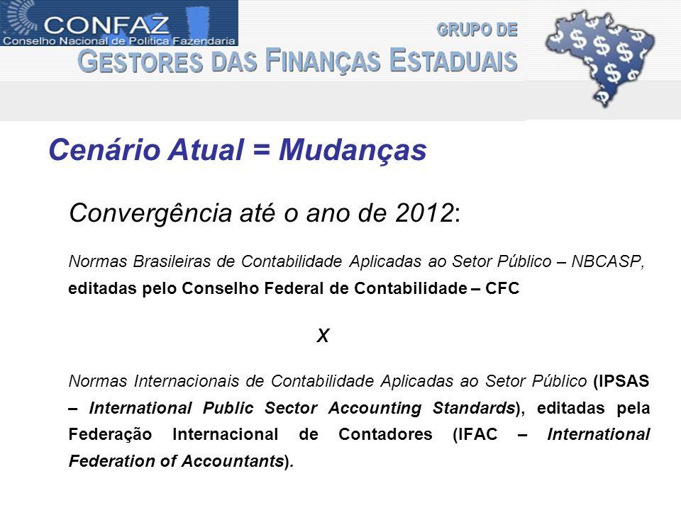 Cenário Atual = Mudanças Convergência até o ano de 2012: Normas Brasileiras de Contabilidade Aplicadas ao Setor Público – NBCASP, editadas pelo Consel