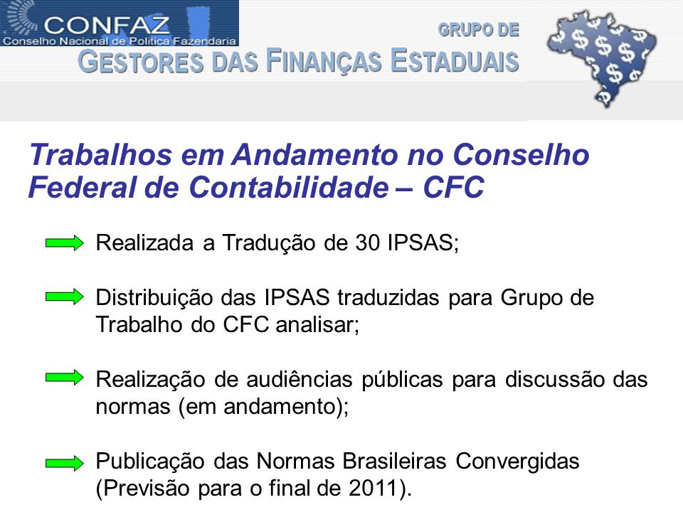 Trabalhos em Andamento no Conselho Federal de Contabilidade – CFC Realizada a Tradução de 30 IPSAS; Distribuição das IPSAS traduzidas para Grupo de Tr