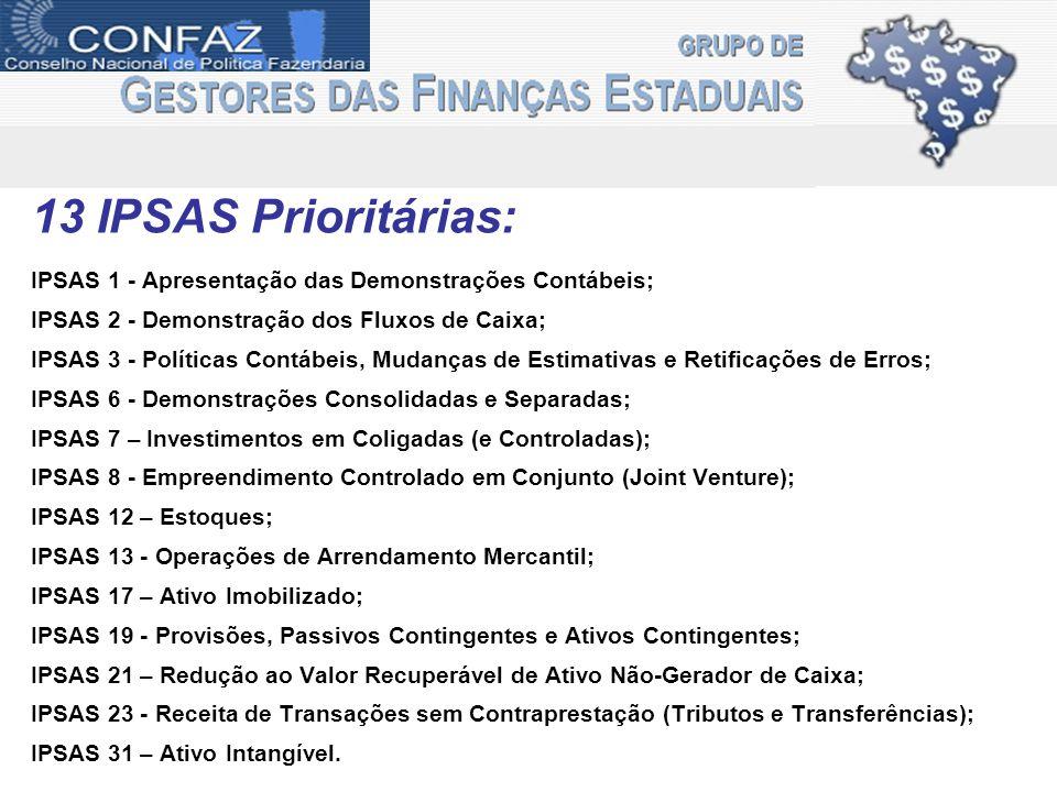 13 IPSAS Prioritárias: IPSAS 1 - Apresentação das Demonstrações Contábeis; IPSAS 2 - Demonstração dos Fluxos de Caixa; IPSAS 3 - Políticas Contábeis,
